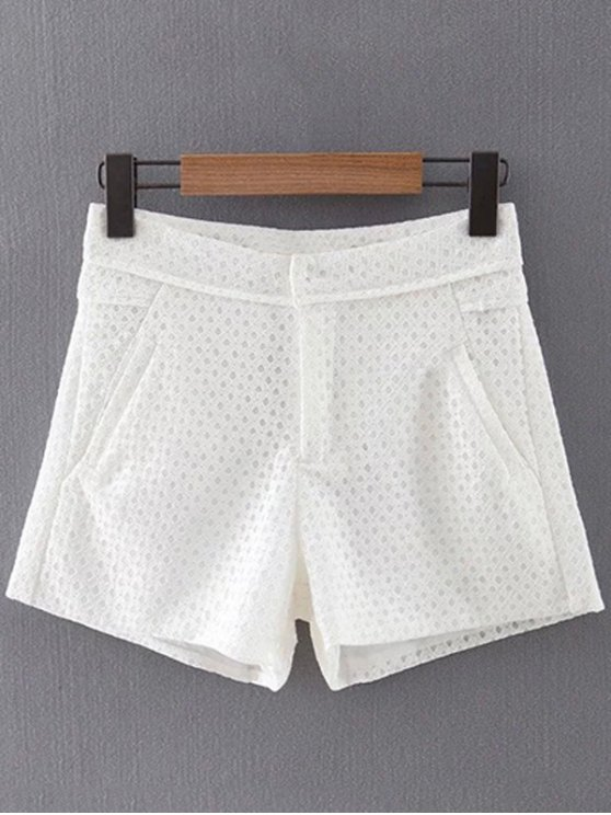 Lace Solid Color Pockets Shorts - WHITE S Mobile