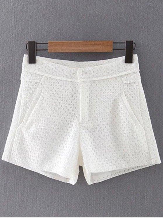 Sólido del cordón de los bolsillos de color Pantalones cortos - Blanco S