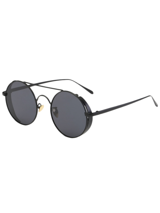Crossbar Round Vintage Sunglasses - BLACK  Mobile