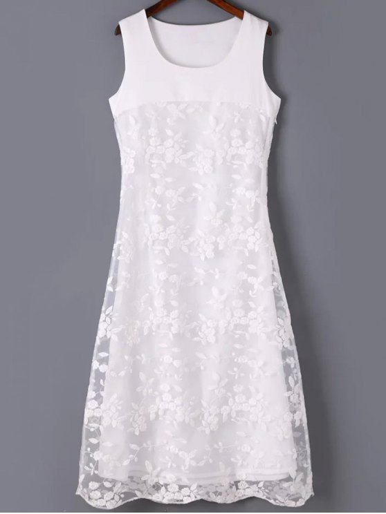 Organza Spliced Round Neck Sleeveless Embroidery Dress - WHITE M Mobile