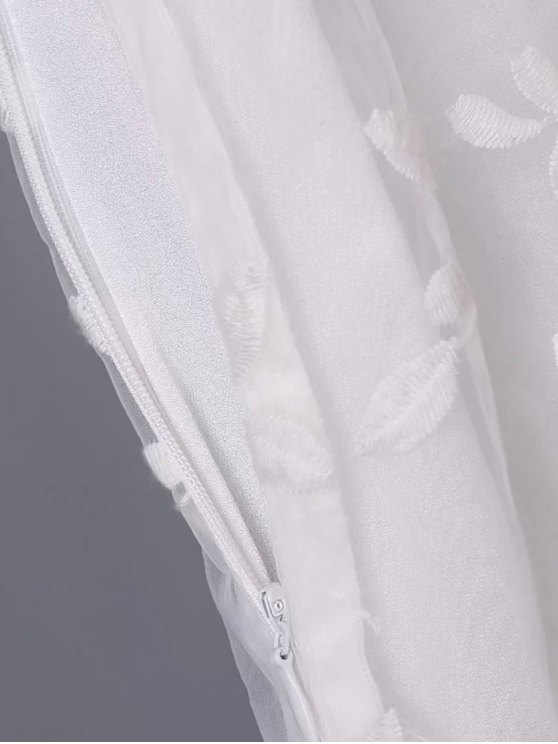 Organza Spliced Round Neck Sleeveless Embroidery Dress - WHITE S Mobile