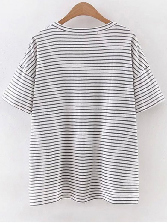 Striped Round Neck Half Sleeve High Low Hem T-Shirt - WHITE S Mobile