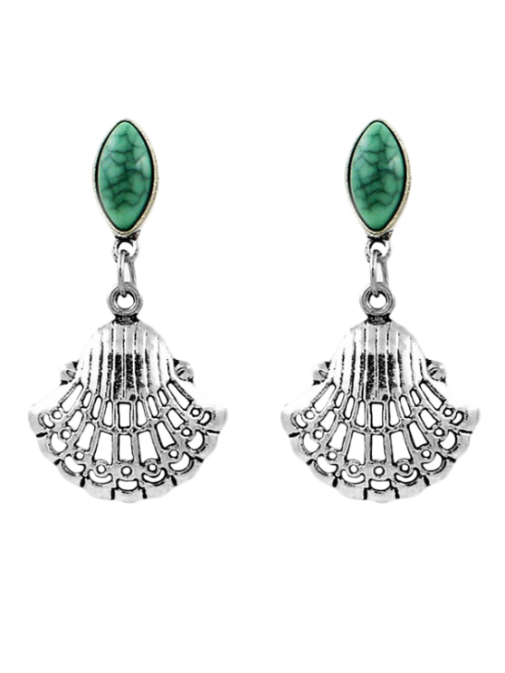 Faux Gem Fan Shaped Earrings -   Mobile