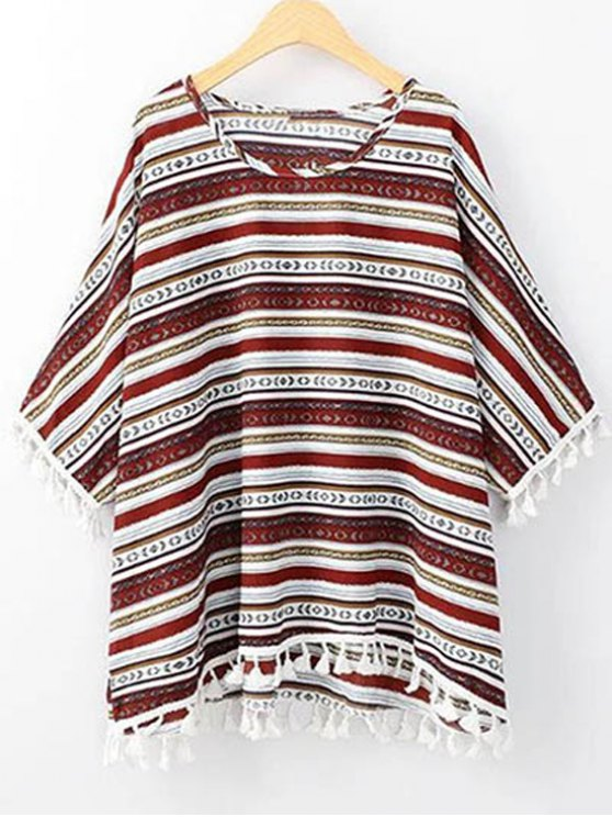 Ethnic Print con cuello redondo 3/4 camiseta de la manga - Rojo Un tamaño(Montar tam