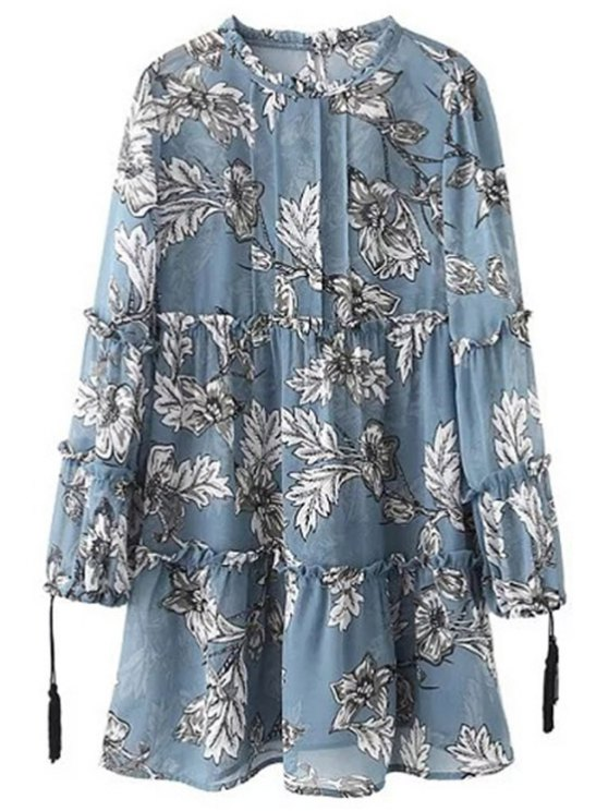 Printed Round Collar Long Sleeve Loose Dress - ICE BLUE M Mobile