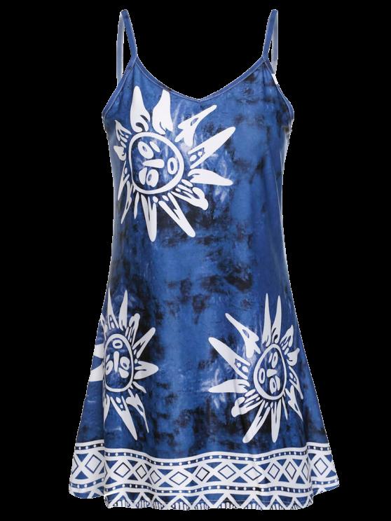 Correa de espagueti vestido de la impresión de Argyle Sun - Azul XL
