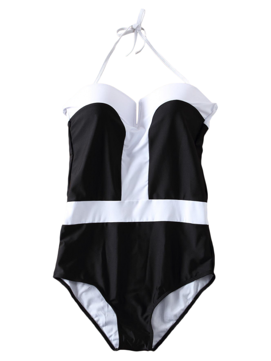 Color Block Bandeau One Piece Swimwear - WHITE AND BLACK S Mobile