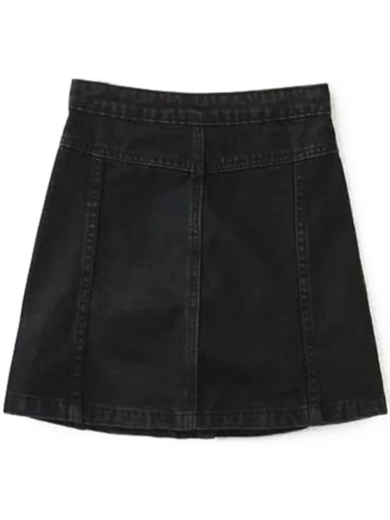 A Line Button Up Denim Skirt - BLACK M Mobile