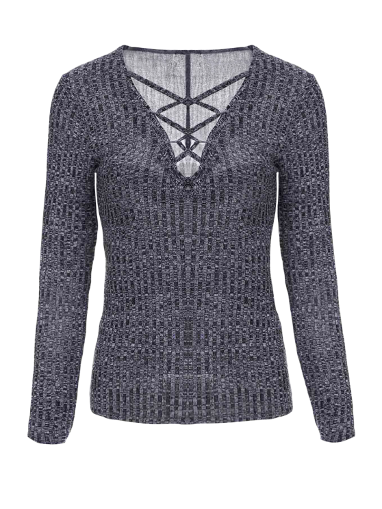 women's Gray Plunging Neck Long Sleeve Jumper - GRAY S