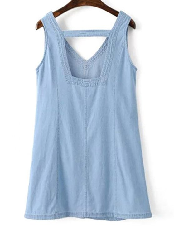 V-Neck A-Line Tank Dress - BLUE S Mobile