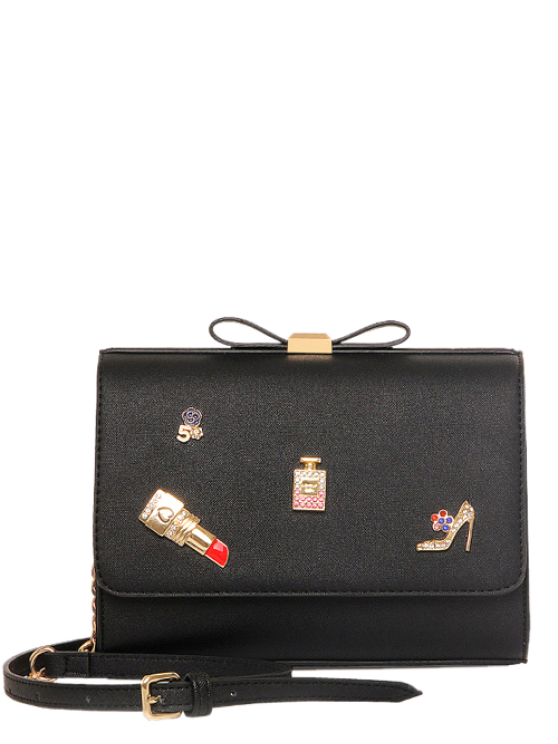 hot Bowknot Lipstick PU Leather Crossbody Bag - BLACK