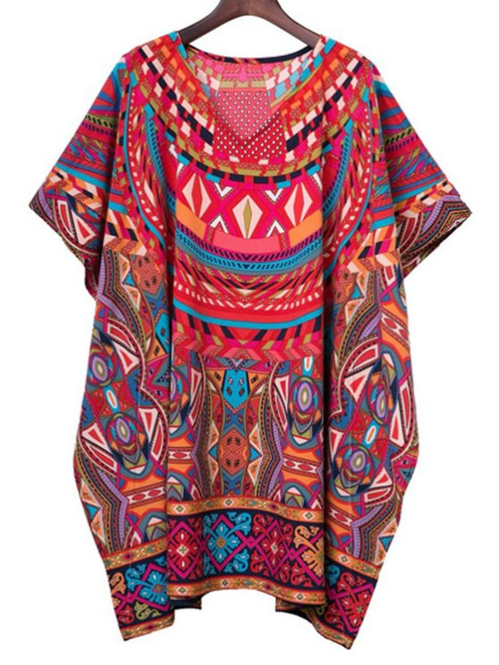 ladies Batwing Sleeve Geometric Print Dress - COLORMIX ONE SIZE(FIT SIZE XS TO M)