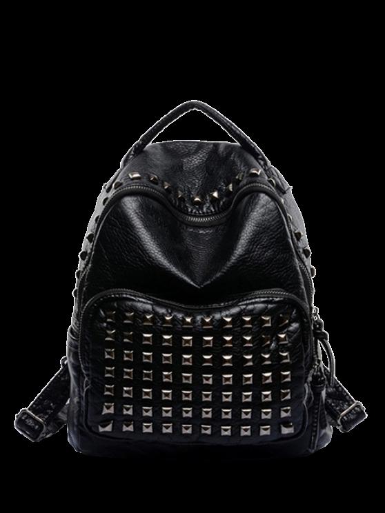 lady Rivet Solid Color PU Leather Satchel - BLACK