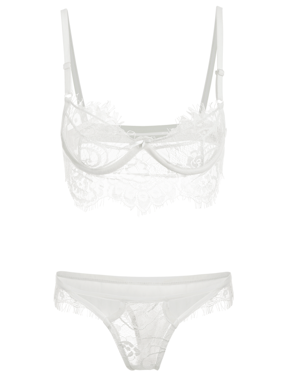 Spaghetti Straps Lace Bra Set - WHITE M Mobile