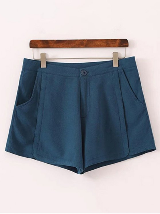 fancy Pure Color High Waisted Shorts - BLUE 38