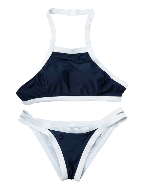 Hit Color Halterneck Bikini Set - BLUE M Mobile