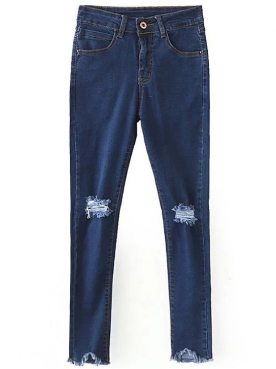 womens Slimming Ripped Solid Color Jeans - DEEP BLUE 2XL