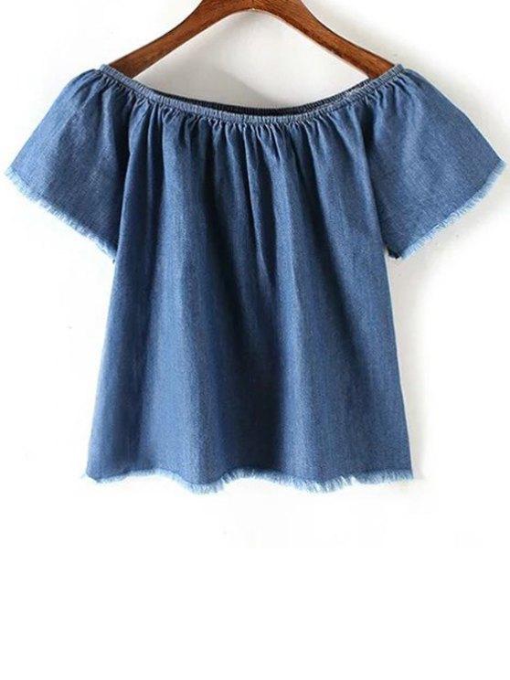 ladies Blue Denim Off The Shoulder Short Sleeve T-Shirt - BLUE S