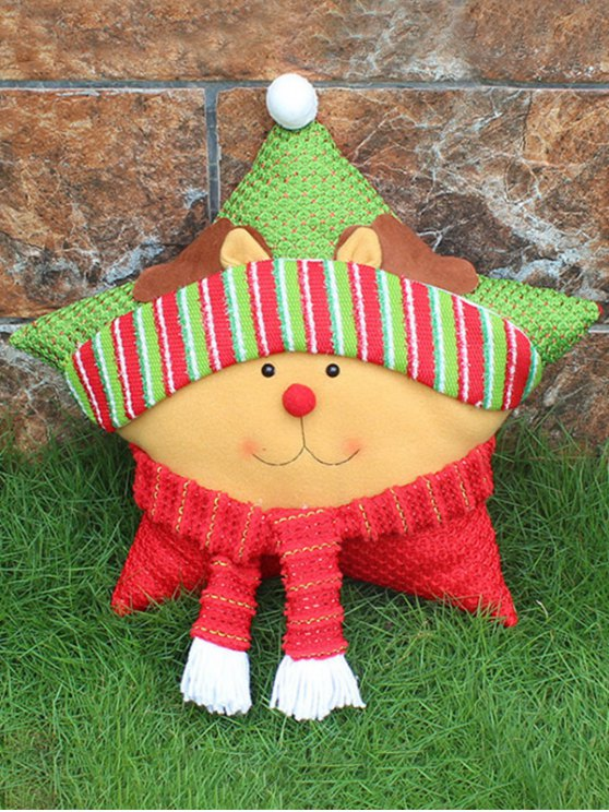 Merry Christmas Reindeer Star Pillow -   Mobile