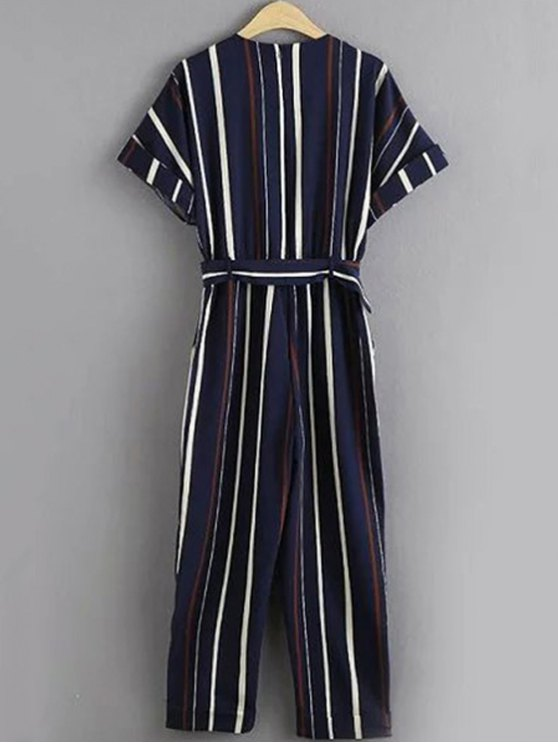 Stripe Round Neck Short Sleeve Jumpsuit -   Mobile