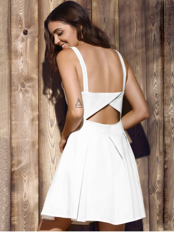 Bare Midriff Strap Dress - WHITE M Mobile