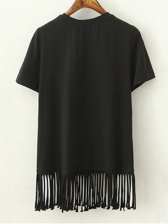 Tassels Spliced Round Collar Short Sleeve T-Shirt - BLACK S Mobile