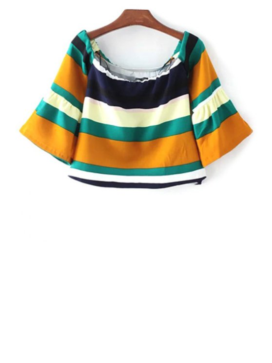 shop Striped Scoop Neck 3/4 Sleeve T-Shirt - COLORMIX S