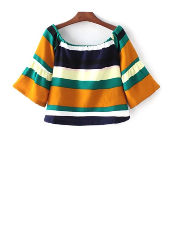 Striped Scoop Neck 3/4 Sleeve T-Shirt - COLORMIX S Mobile