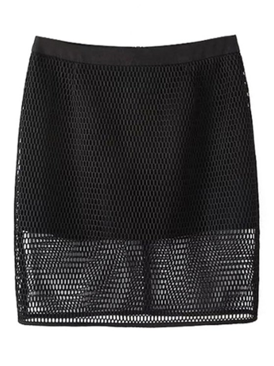 Solid Color High Waisted Mesh Skirt - BLACK M Mobile