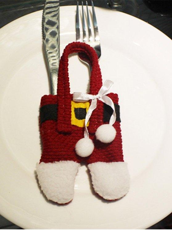 Christmas Santa Pants Shape Tableware Holder Bag -   Mobile