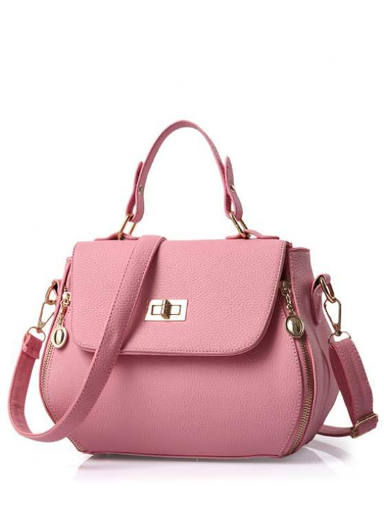 lady Hasp Solid Color PU Leather Tote Bag - PINK