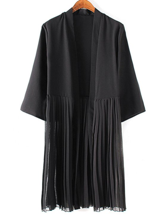 fashion Tassels Spliced 3/4 Sleeve Solid Color Coat - BLACK S