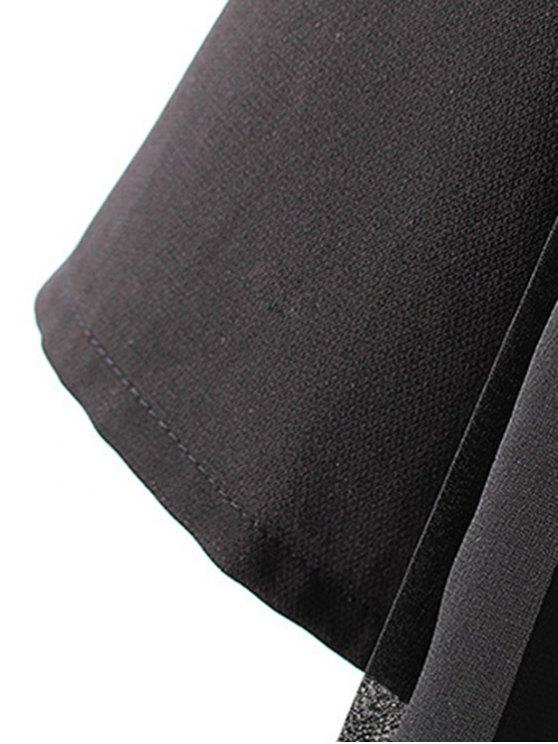 Tassels Spliced 3/4 Sleeve Solid Color Coat - BLACK L Mobile