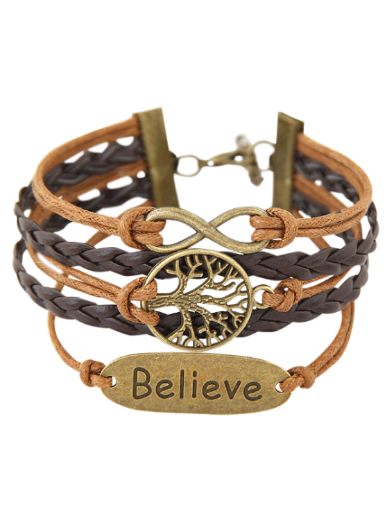 Tree of Life Braided Bracelet - BROWN  Mobile