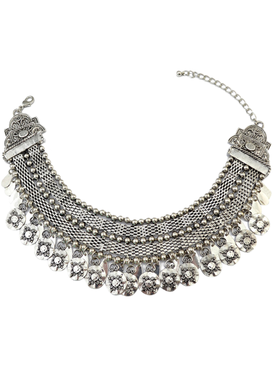 Coin Fringed Metal Choker - SILVER  Mobile