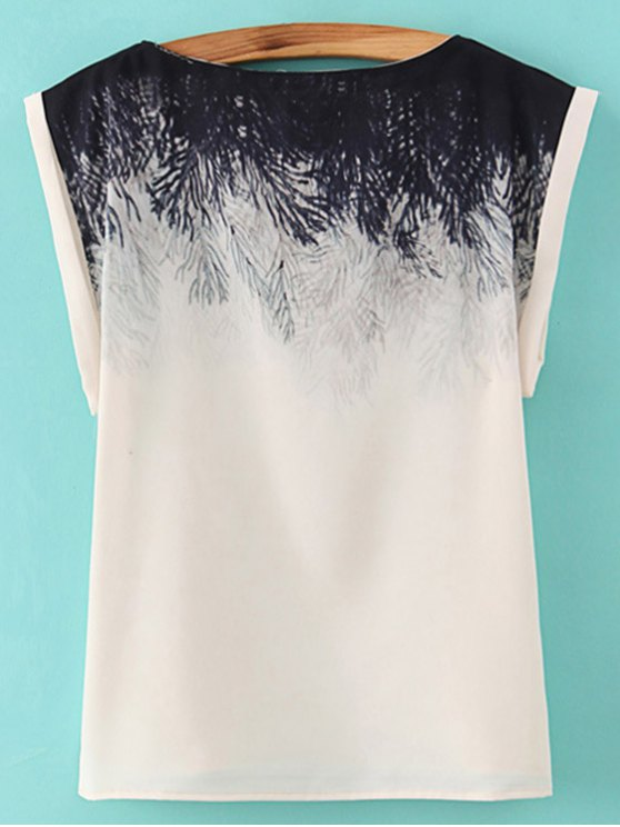 Printed Slash Neck T-Shirt - WHITE L Mobile