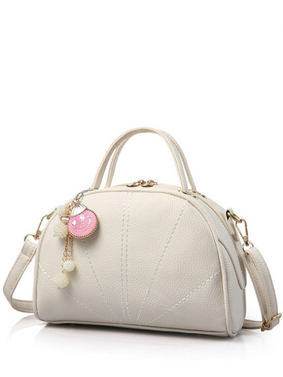 Pendant Stitching Candy Color Tote Bag - OFF-WHITE  Mobile