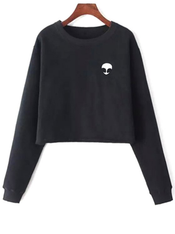 best Alien Embroidered Cropped Sweatshirt - BLACK ONE SIZE(FIT SIZE XS TO M)