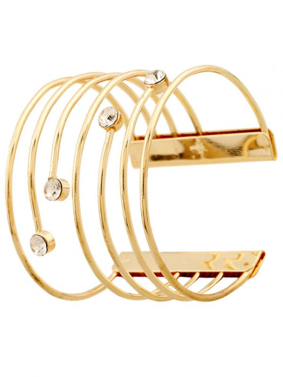 Rhinestone Hollow Out Bracelets - GOLDEN  Mobile