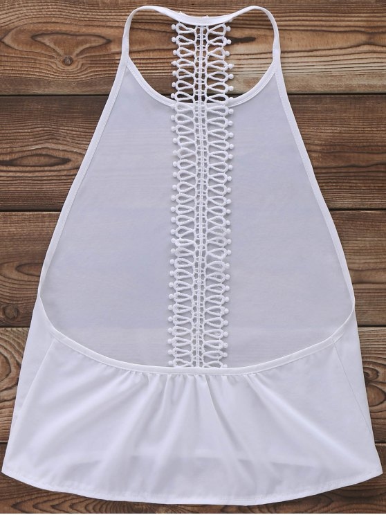 Backless Solid Color Tank Top - WHITE L Mobile