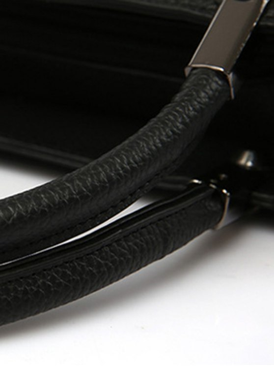Pendant Stitching PU Leather Tote Bag - PURPLISH RED  Mobile