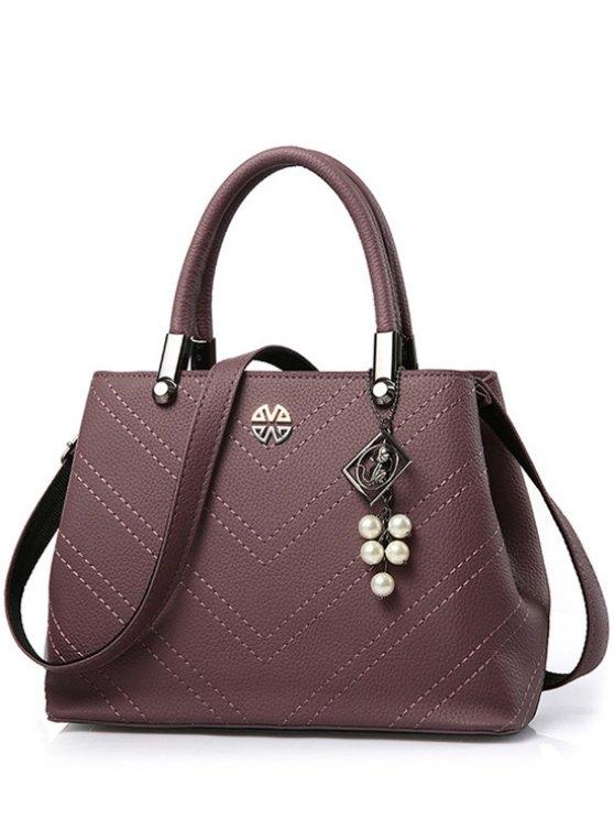 chic Pendant Stitching PU Leather Tote Bag - PURPLISH RED