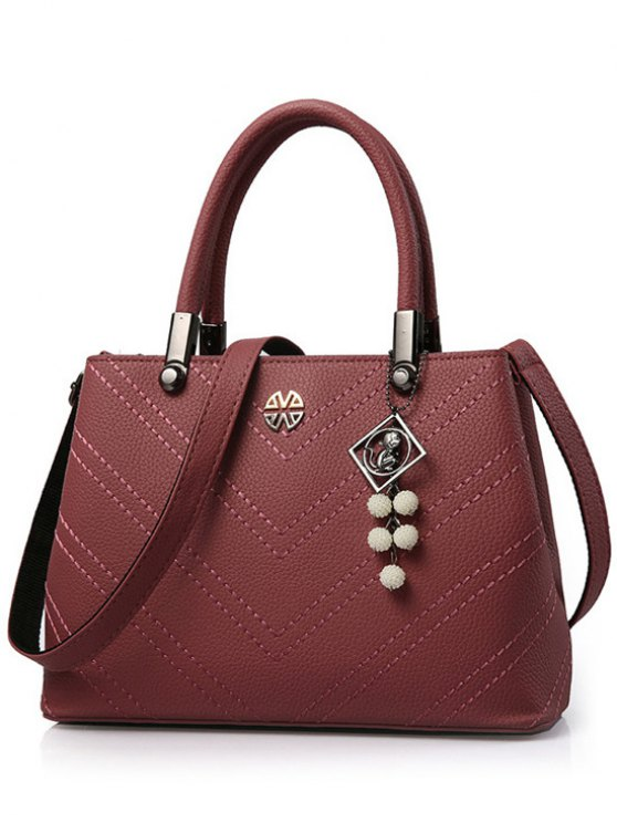 fashion Pendant Stitching PU Leather Tote Bag - DARK RED