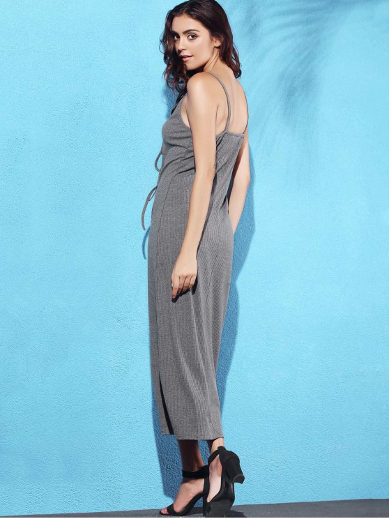 Lace Up Spaghetti Straps Solid Color Dress - GRAY S Mobile