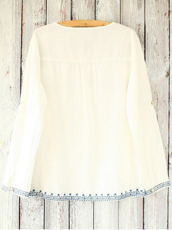 Loose Retro Embroidered Round Neck Long Sleeve Blouse - WHITE ONE SIZE(FIT SIZE XS TO M) Mobile
