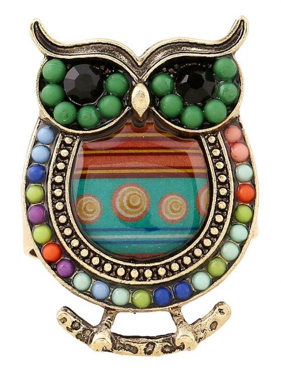 Bead Owl Shape Ring - GREEN  Mobile