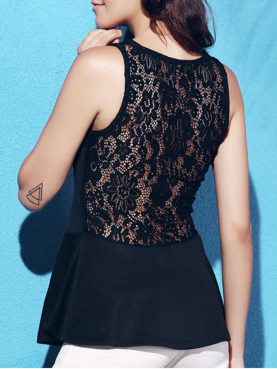 outfits Lace Insert Peplum Top - BLACK L