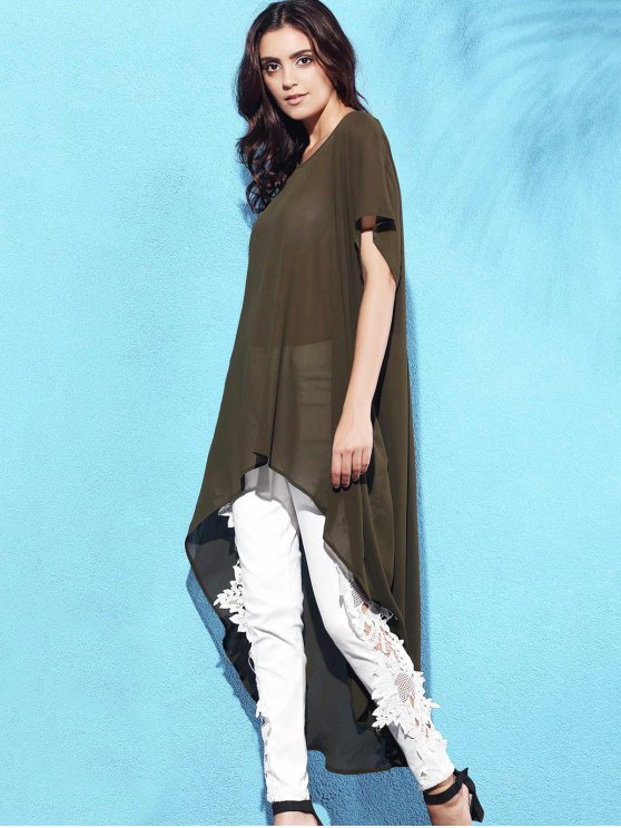 High Low Short Sleeve Dress - ARMY GREEN M Mobile