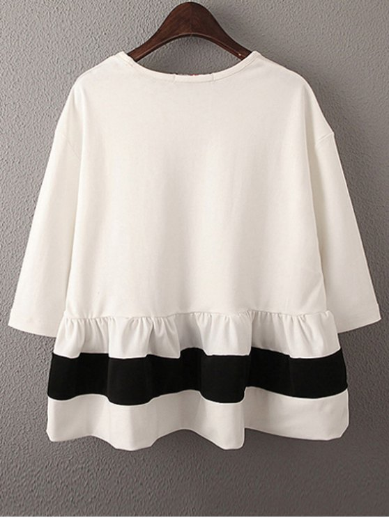 Dropped Shoulder Ruffle Hem Loose Top - WHITE M Mobile