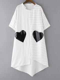 Striped Pockets Patch Irregular Hem Dress - White M